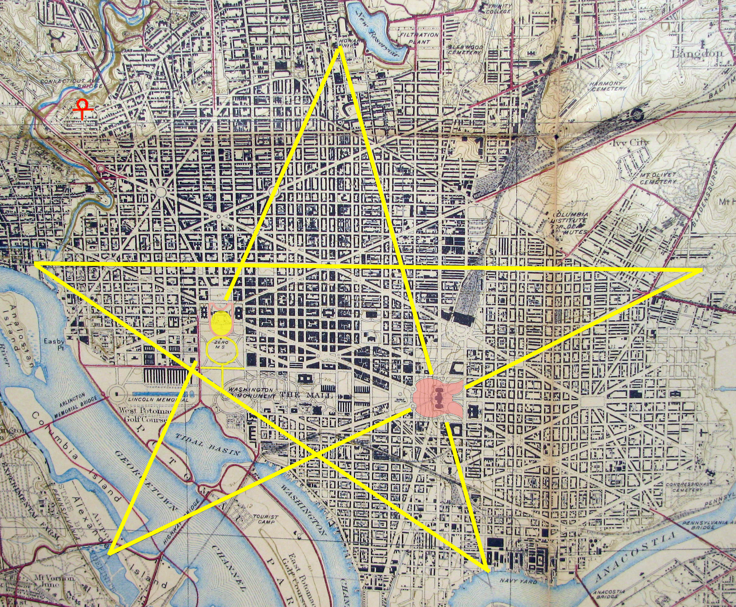 Freemasons History In America Symbols Structures And Influence - Washington dc map symbol